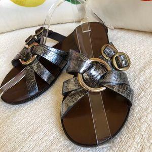 Robert Clergerie Metallic Leather Sandals France